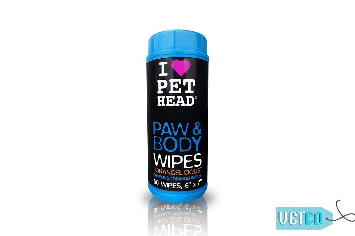 Pet Head Orangelicious Paw & Body Wipes, 50 count