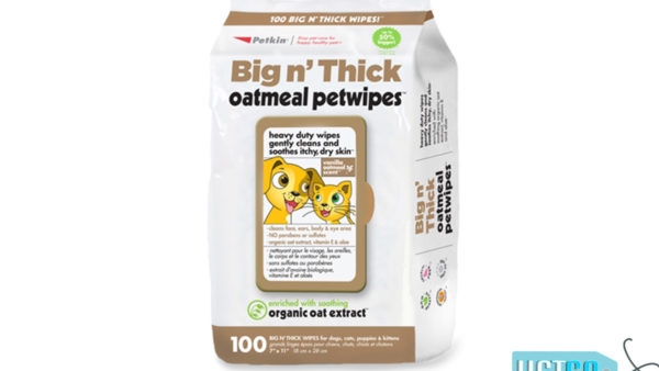 Petkin Big N' Thick Oatmeal Pet Wipes Dog & Cat Wipes, 100 count