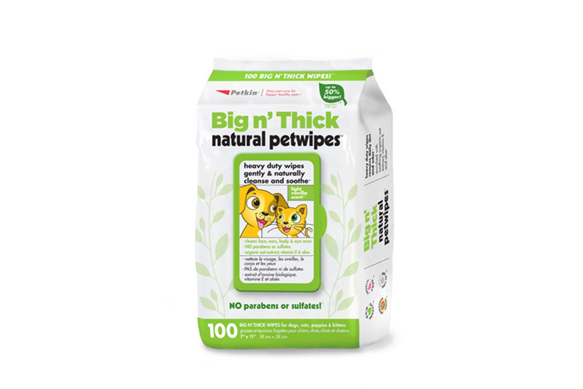Petkin Big N' Thick Natural Pet Wipes Dog & Cat Wipes, 100 count