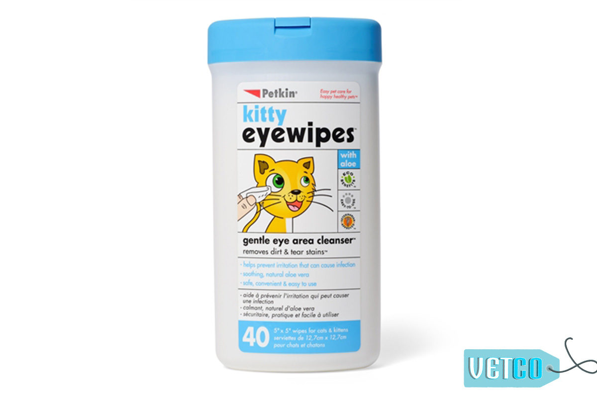 Petkin Kitty Eye Wipes, 40 count