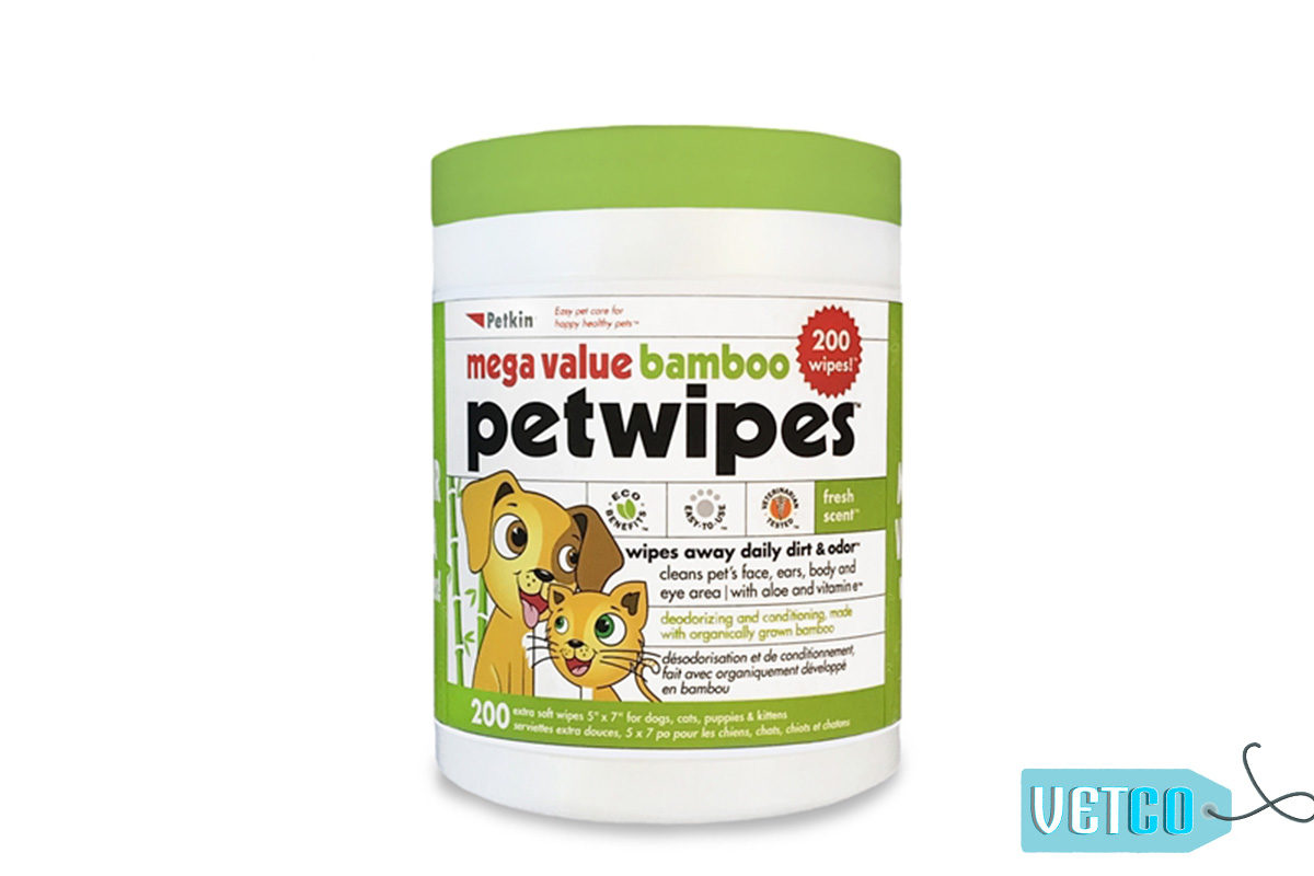 Petkin Mega Value Bamboo Dog & Cat Eco Pet Wipes, 200 count