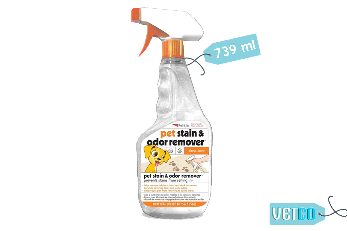Petkin Pet Stain and Odor Remover Spray, 739 ml