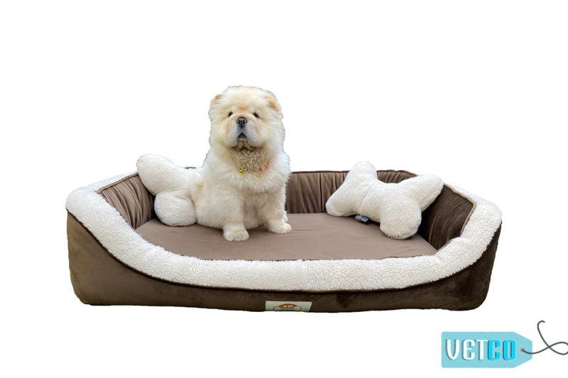 Barks n Wags Brown & Cream Fur-Sofa Dog & Cat Bed
