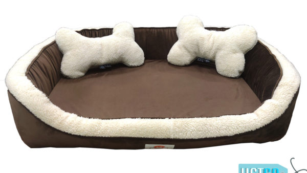 Barks n Wags Brown & Cream Fur-Sofa Dog & Cat Bed