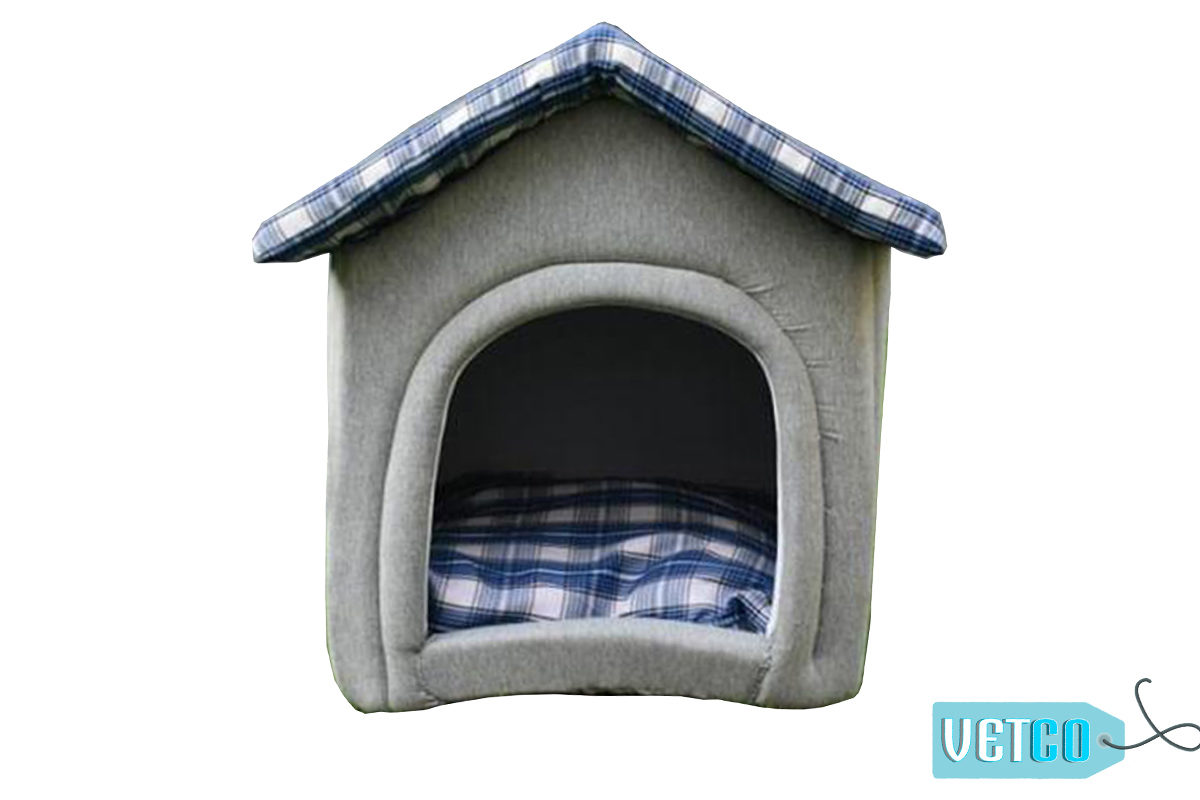 Barks n Wags Home Sweet Home Plush Hut Dog & Cat Bed