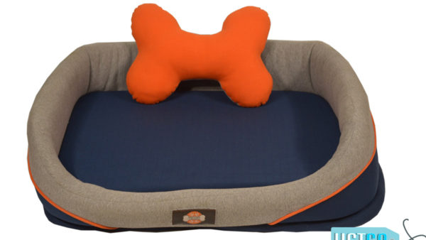 Barks & Wags Orange and Blue Cuddler Dog & Cat Bed