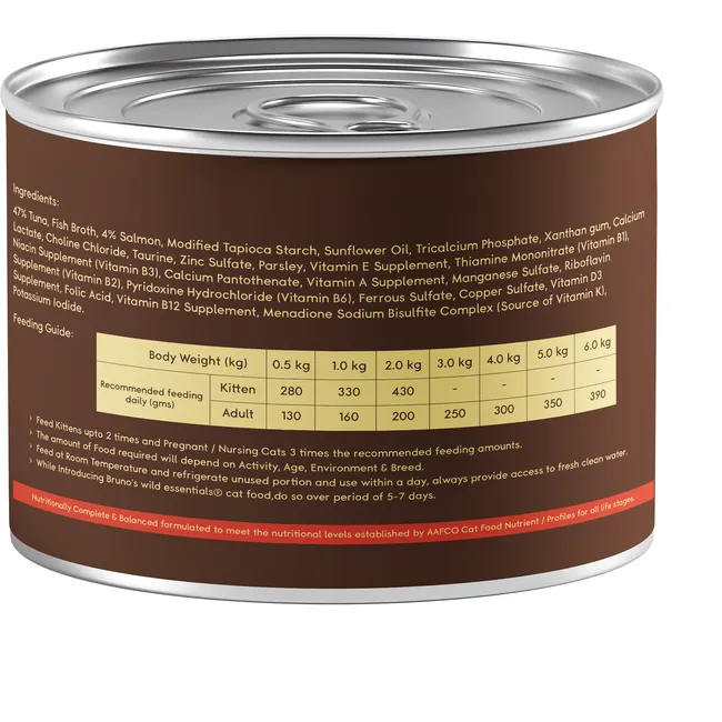 Bruno's Wild Essentials Tuna with Salmon & Parsley in Gravy Wet Cat Food (All Life Stages)