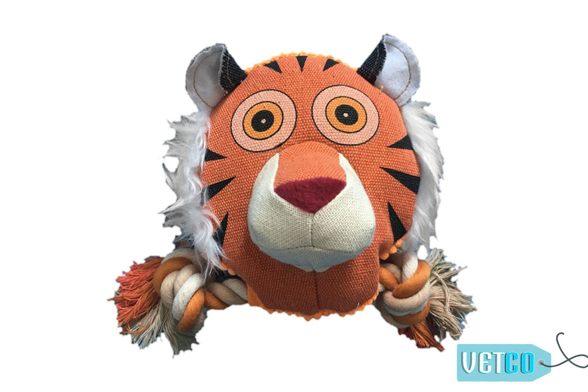 Nutrapet Fluffy Tiger Jute Dog Toy