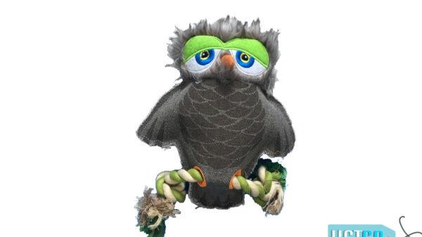 Nutrapet Sleepy Owl Jute Dog Toy