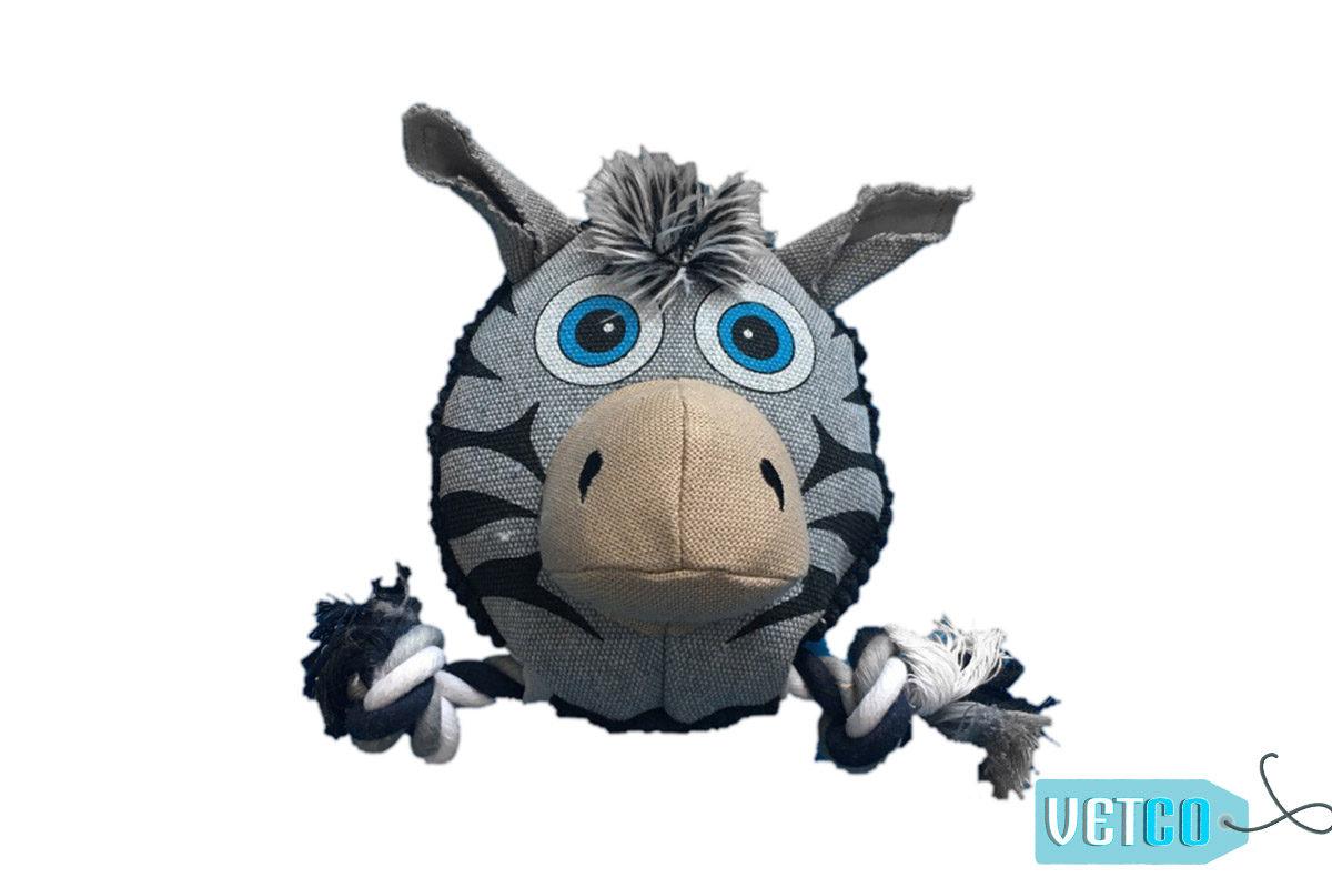 Nutrapet Fluffy Zebra Jute Dog Toy