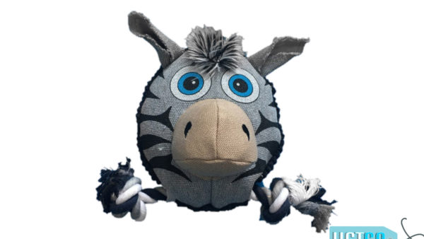Nutrapet Fluffy Zebra Jute Dog Toy
