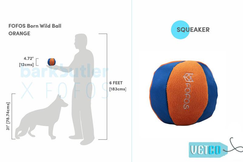 FOFOS Born Wild Ball Orange Dog Toy