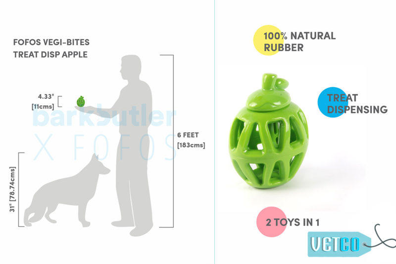 FOFOS Fruity-Bites Treat Dispensing Apple Dog Toy