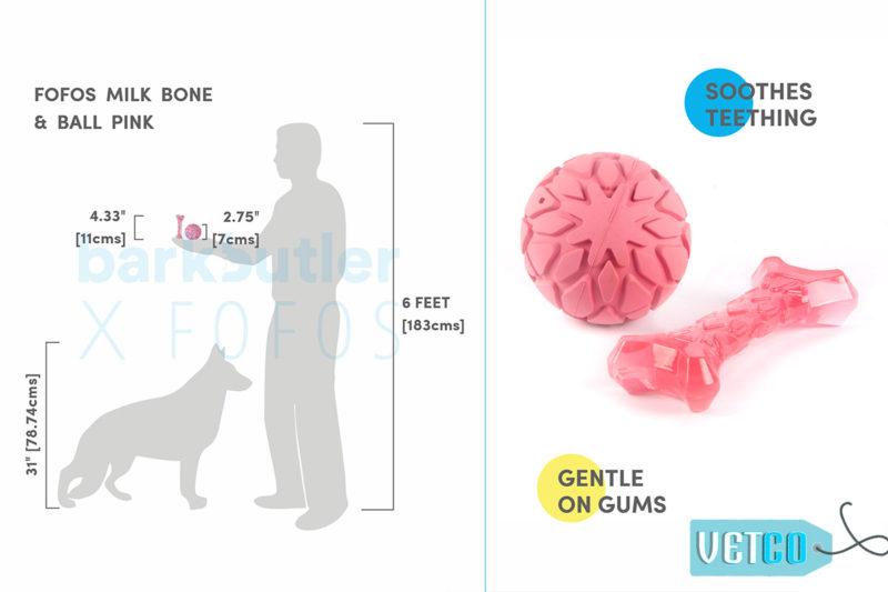 FOFOS Milk Bone & Ball Dog Toy - Pink