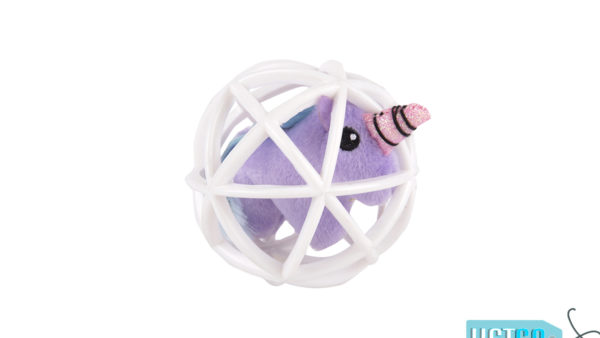 FOFOS Purple Unicorn in a Cage Cat Toy