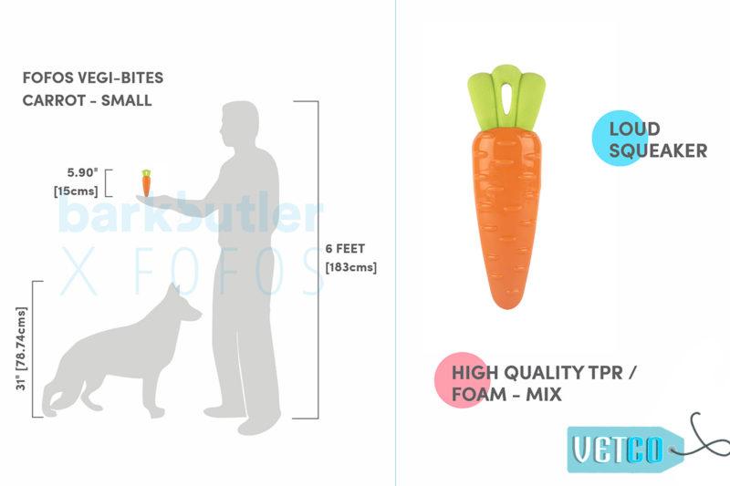 FOFOS Vegi-Bites Carrot Dog Toy - Small