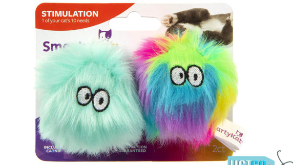SmartyKat Fuzzy Friends Plush Ball Cat Toys, 2 count