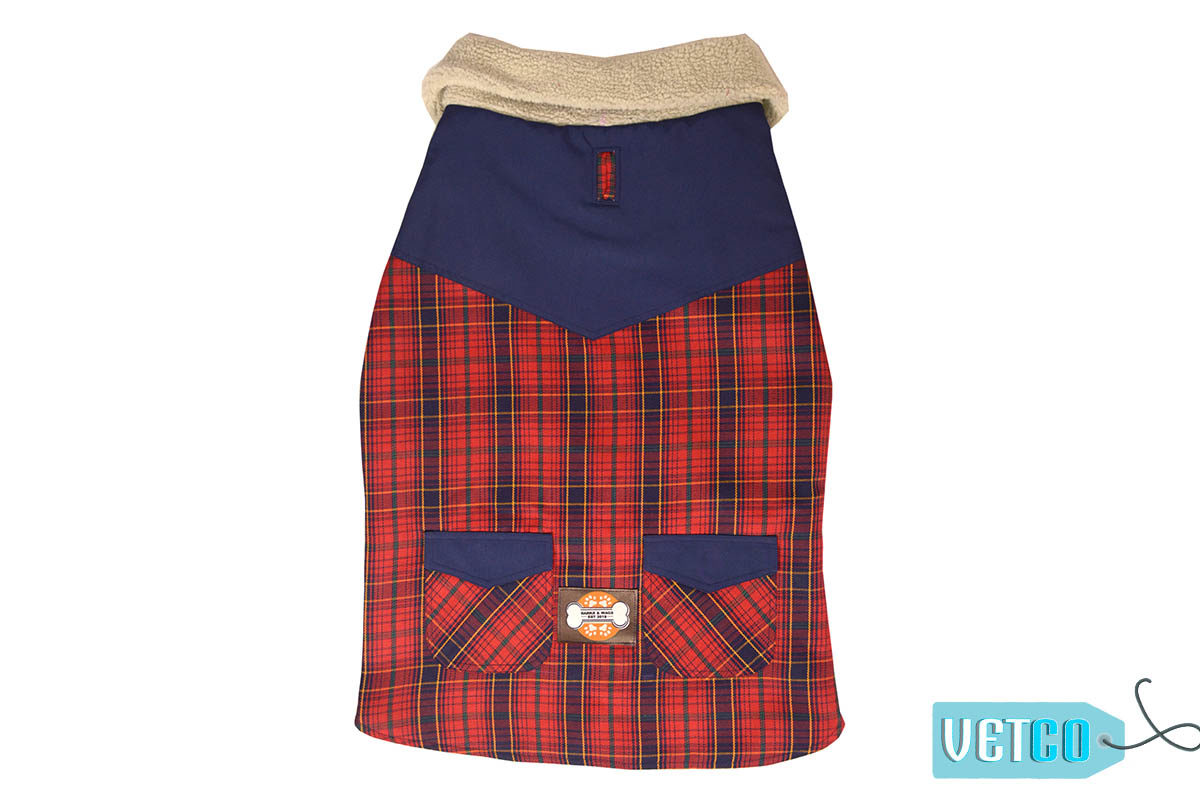 Barks n Wags Blue & Red Plaid Thermapet Jacket
