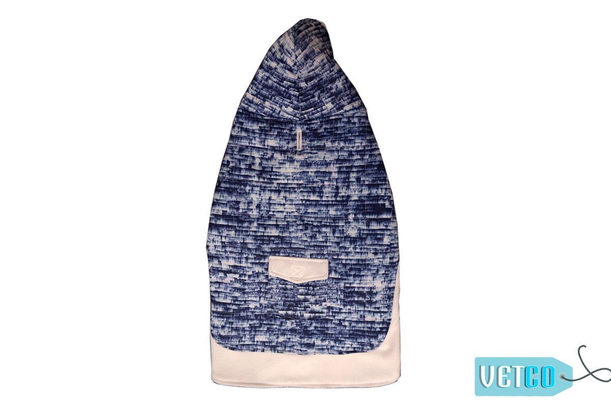 Barks n Wags Blue & White Textured Hoodie