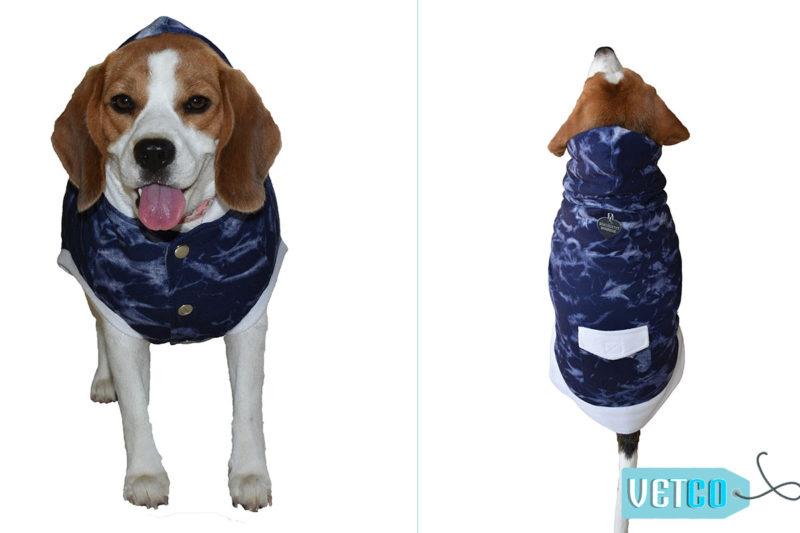 Barks n Wags Denim Blue Textured Hoodie