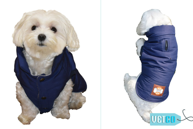 Barks n Wags Navy Blue Microfiber Quilted Jacket