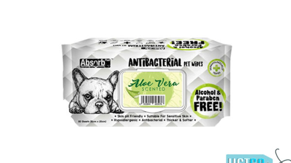 Absorb Plus Aloe Vera Antibacterial Pet Wipes, 80 Count