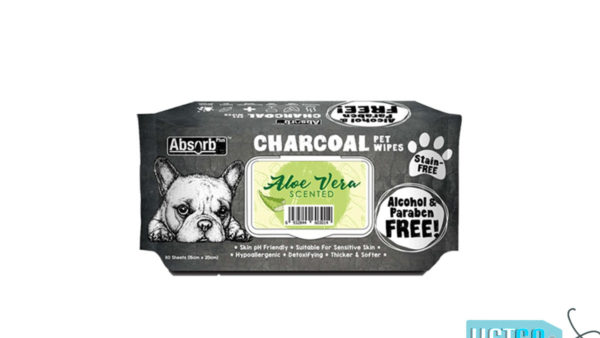 Absorb Plus Aloe Vera Charcoal Pet Wipes, 80 Count