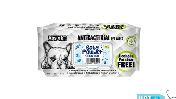 Absorb Plus Baby Powder Antibacterial Pet Wipes, 80 Count