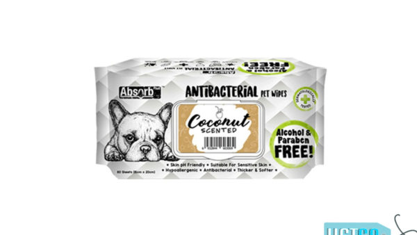 Absorb Plus Coconut Antibacterial Pet Wipes, 80 Count