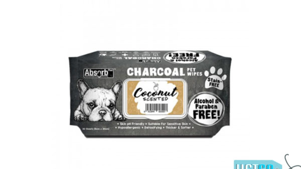 Absorb Plus Coconut Charcoal Pet Wipes, 80 Count
