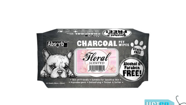 Absorb Plus Floral Charcoal Pet Wipes, 80 Count