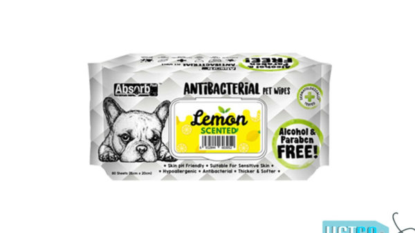 Absorb Plus Lemon Antibacterial Pet Wipes, 80 Count