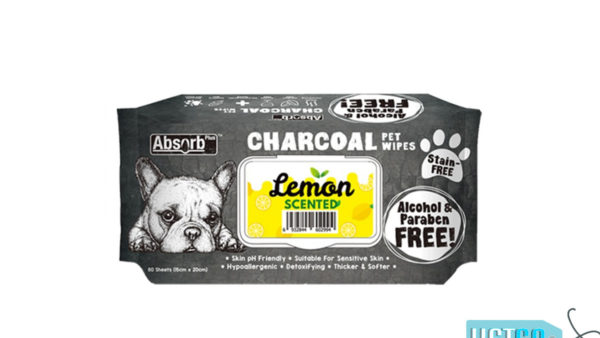 Absorb Plus Lemon Charcoal Pet Wipes, 80 Count