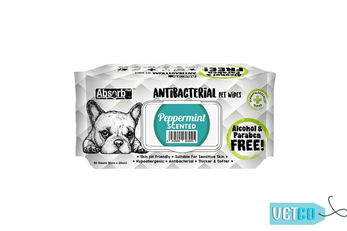 Absorb Plus Peppermint Antibacterial Pet Wipes, 80 Count