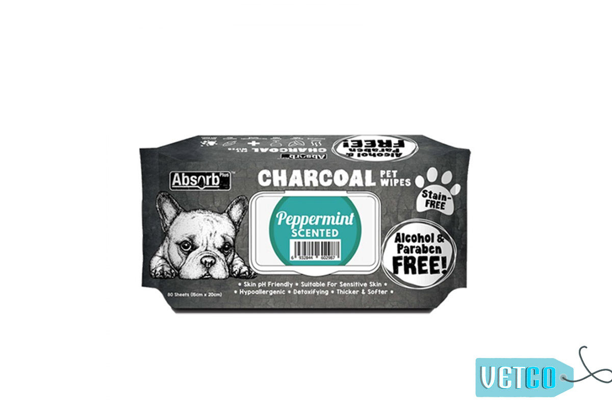 Absorb Plus Peppermint Charcoal Pet Wipes, 80 Count