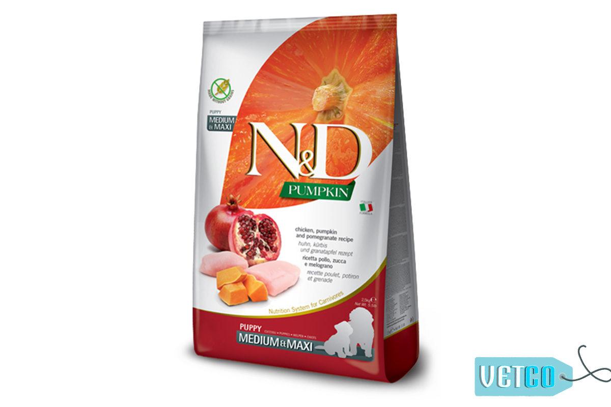 Farmina N&D Grain Free Chicken, Pumpkin & Pomegranate Puppy Dog Food (Medium & Maxi Breeds)