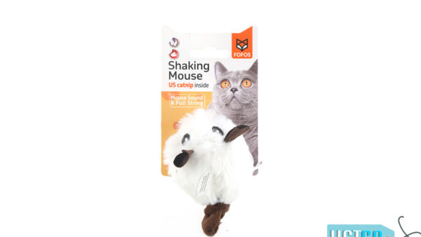 FOFOS Pull String Mouse Catnip Cat Toy – White