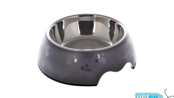 Nutrapet Melamine Round Paw Bowl – Grey