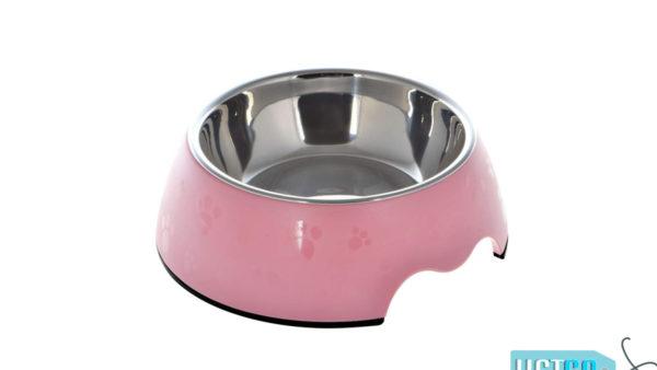 Nutrapet Melamine Round Paw Bowl – Pink