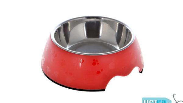 Nutrapet Melamine Round Paw Bowl – Red