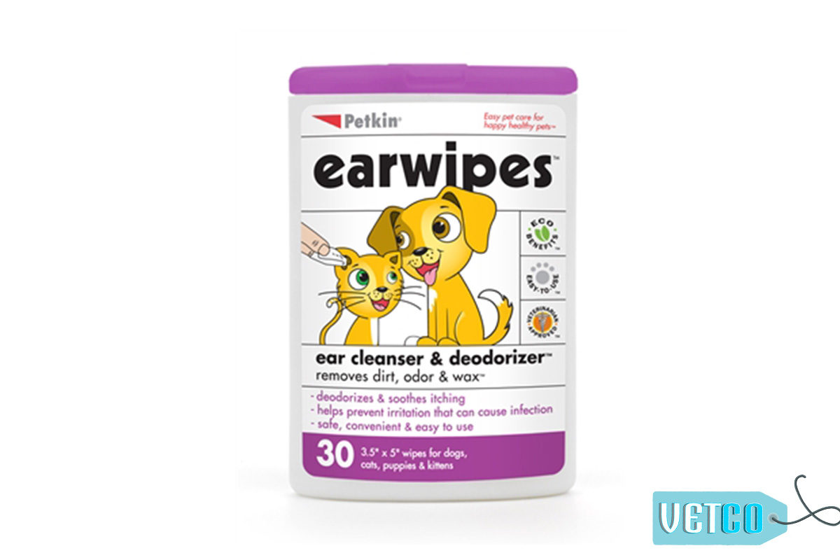 Petkin Dog & Cat Ear Wipes, 30 count