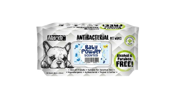 Absorb Plus Baby Powder Antibacterial Pet Wipes, 80 Count