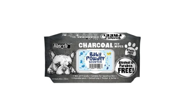 Absorb Plus Baby Powder Charcoal Pet Wipes, 80 Count