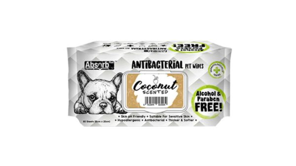 Absorb Plus Coconut Antibacterial Pet Wipes, 80 Count