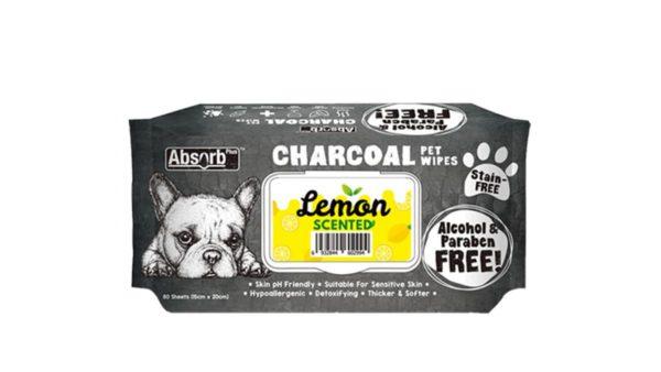 Absorb Plus Lemon Charcoal Pet Wipes, 80 Count
