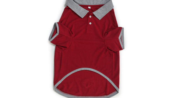 Barks & Wags Maroon & Grey Polo Dog Shirt