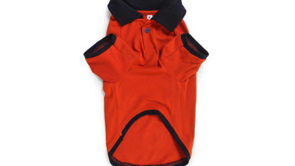 Barks & Wags Orange & Navy Blue Polo Dog Shirt