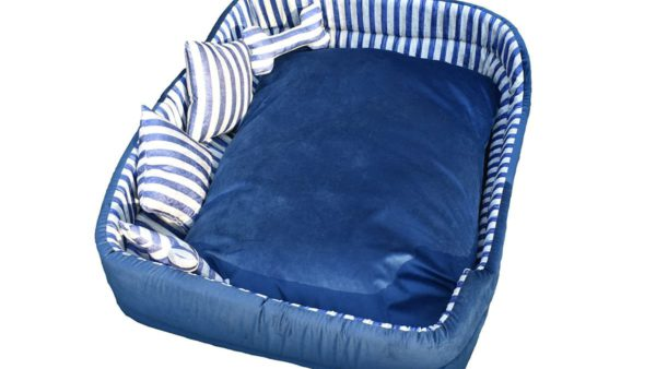 Barks & Wags White & Blue Striped Cuddler Dog & Cat Bed