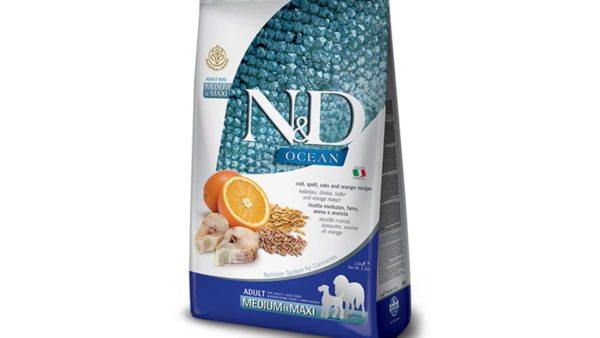 Farmina N&D Ocean Low Grain Ocean Codfish, Spelt, Oats & Orange Adult Dog Food (Medium & Maxi Breeds)