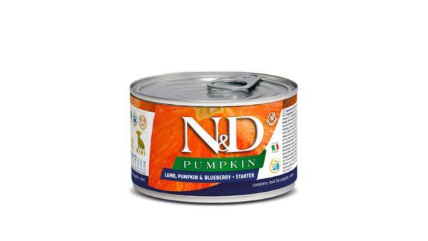 Farmina N&D Pumpkin Starter Puppy Wet Dog Food  Lamb & Blueberry (Small & Mini Breeds), 140 gms